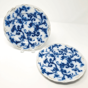 Pair of Flow Blue Plates