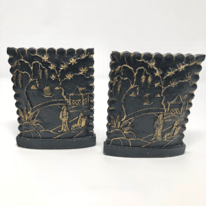 Carved Wood Chinoiserie Bookends
