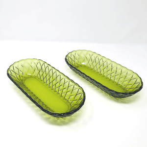 a pair of glass bread baskets