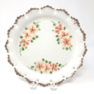 Peach Blossom Milk Glass Plate