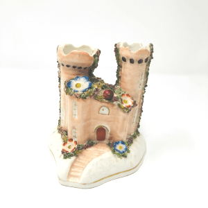 Peach Staffordshire Castle with Flowers