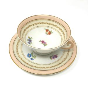 Pink-Rimmed Limoges Tea Cups