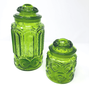 Pair of Green Glass Canisters
