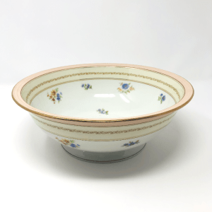 Large Pink-Rimmed white Limoges Bowl with flowers