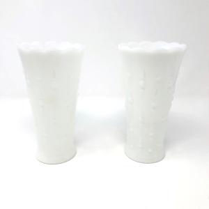 Egg and Dart Milk Glass Vases