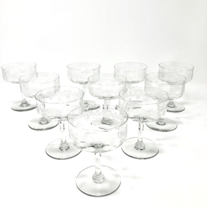Etched Coupe Glasses Set