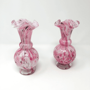 a pair of Pink Mottled Art Glass Vases
