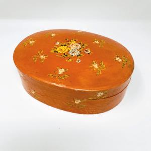 Oval Peach Paper Mache Box