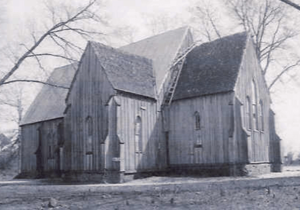 a black and white image of The Old Cahawba Church