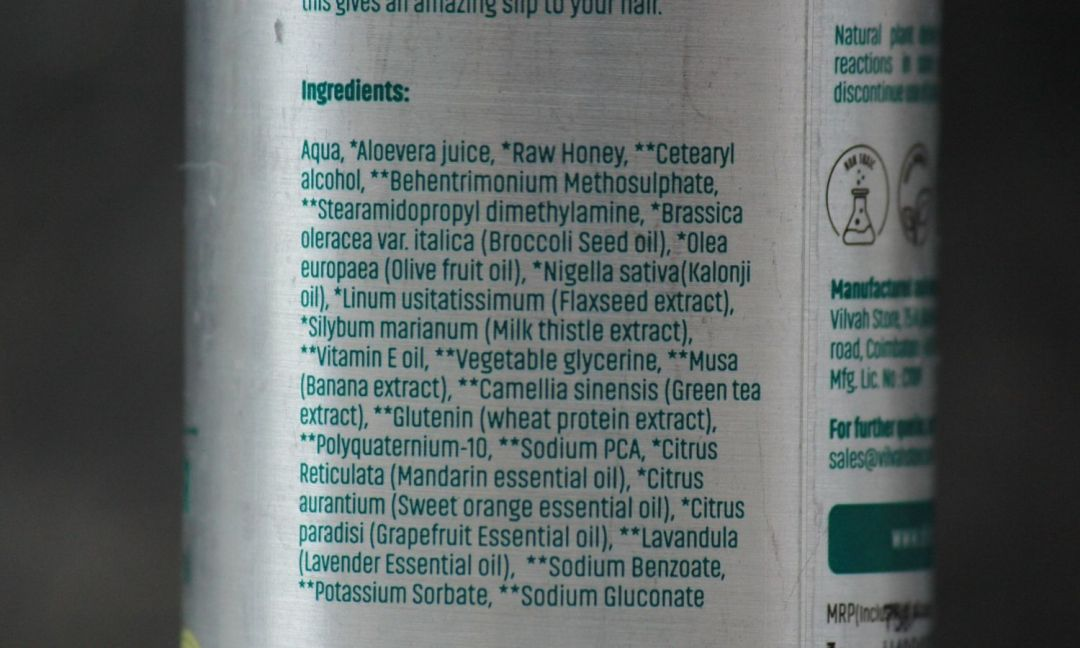 Vilvah Cream Conditioner Ingredients
