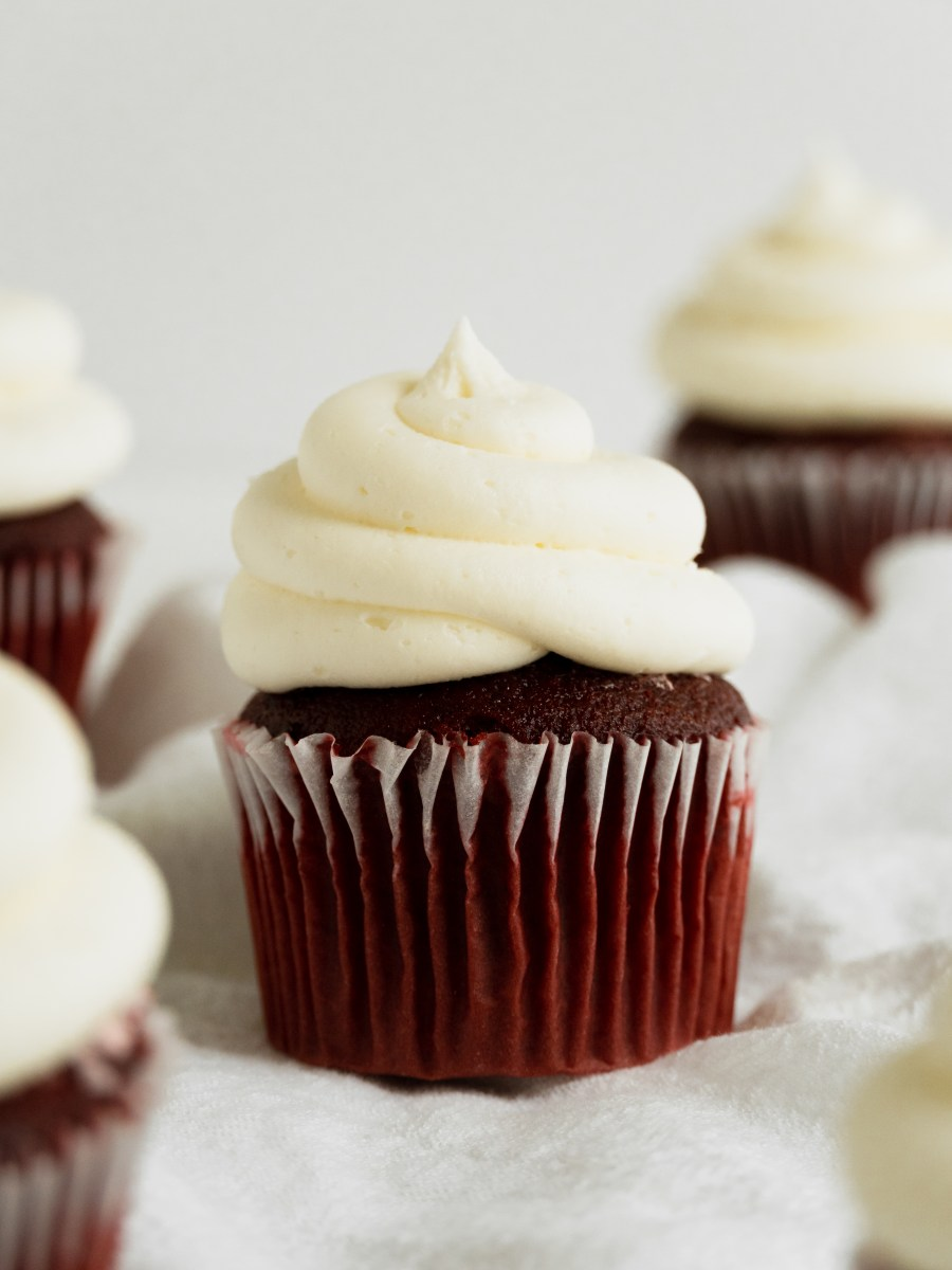 red velvet cupcake with butter cream frosting