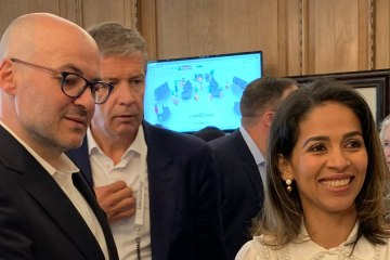 Victor Luis, CEO of Tapestry, with Liz Bacelar, co-founder of Current Global at the BFC Fashion Forum 2019