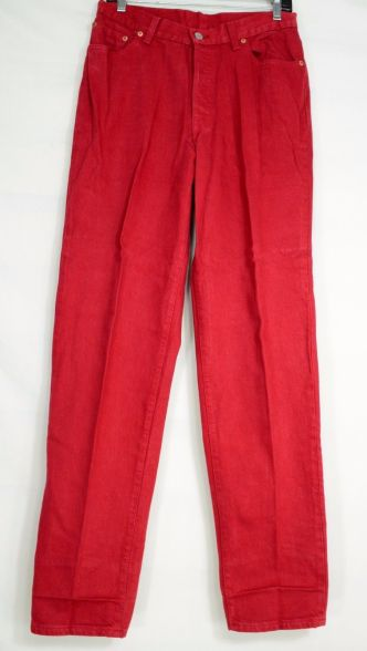 Levi-501-jeans-13-x-33-red-vintage-buttonfly-highwaist-100-cotton-USA-long-