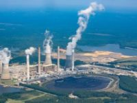 Plant Scherer from the air shows coal ash ponds