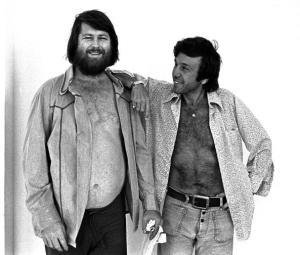Brian Wilson with Dr. Eugene Landy outside rehearsal for Rock Awards at The Hollywood Palladium in Hollywood, CA 1977; Various Locations; Mark Sullivan 70's Rock Archive; Hollywood; CA.   (Photo by Mark Sullivan/Contour by Getty Images)