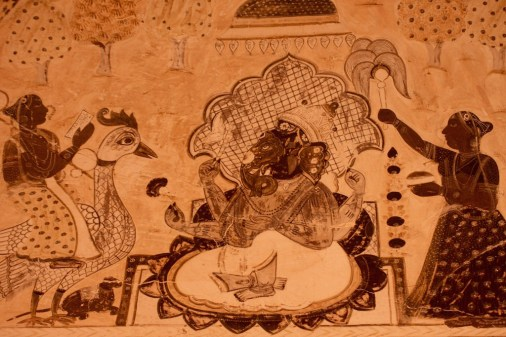 Ganesha, Ceiling Murals, Laxmi Narayan Temple, Orchha, Madhya Pradesh
