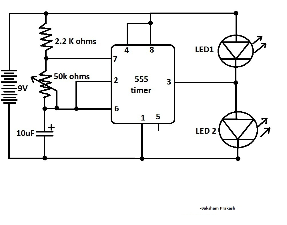 Blink Two LEDs Alternatively With 555 IC (Classic IC
