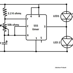 Led Light Circuit Diagram For Dummies Msd Btm Install Blink Two Leds Alternatively With 555 Ic Classic