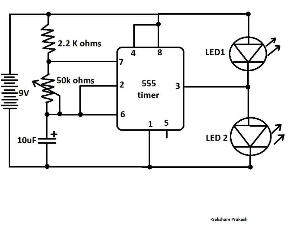 medium resolution of blink two leds alternatively with 555 ic classic ic circuit diagram blink two leds alternatively