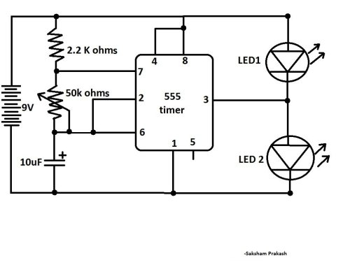 small resolution of blink two leds alternatively with 555 ic classic ic circuit diagram blink two leds alternatively