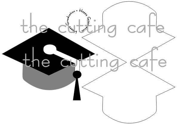 The Cutting Cafe': GRAD HAT SHAPED CARD SET...TEMPLATE