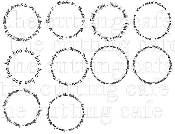 The Cutting Cafe': ASSORTED HALLOWEEN WORD CIRCLES