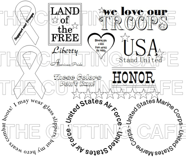 The Cutting Cafe': WE LOVE OUR TROOPS....PRINTABLE STAMP SET
