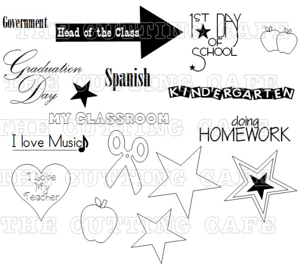 The Cutting Cafe': THE SCHOOL YEARS....PRINTABLE STAMP SET