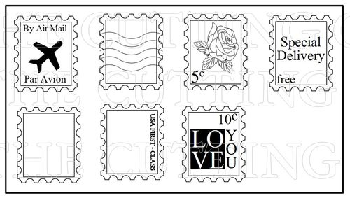 The Cutting Cafe': POSTAGE STAMP SHAPED CARD TEMPLATE