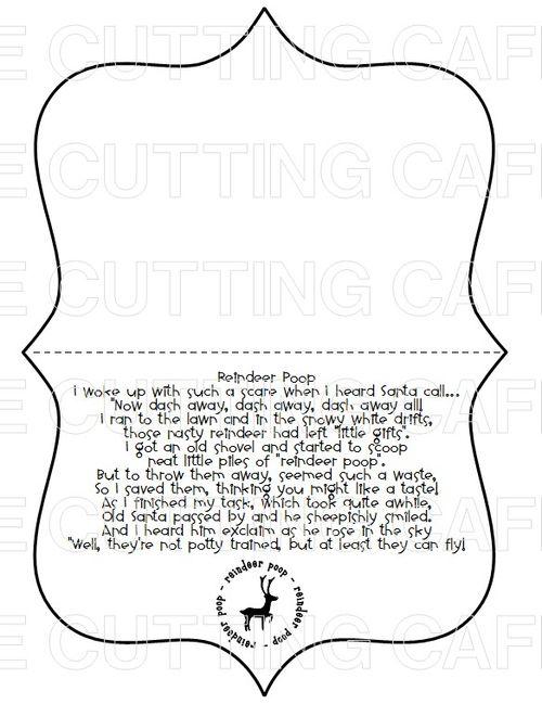 The Cutting Cafe': REINDEER POOP TOPPER...PRINTABLE STAMP SET