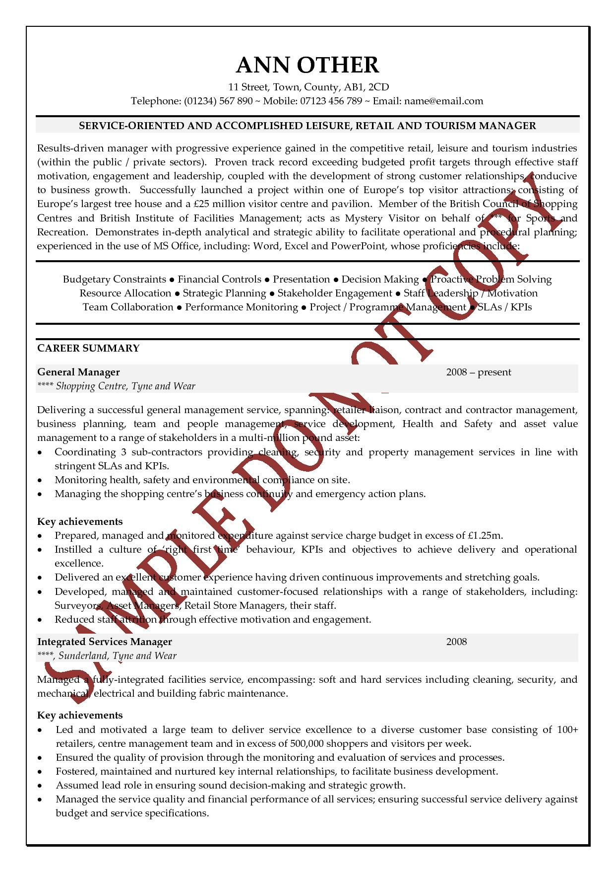 Senior Management Resume Templates Sample Of A Good Curriculum Vitae Search Results