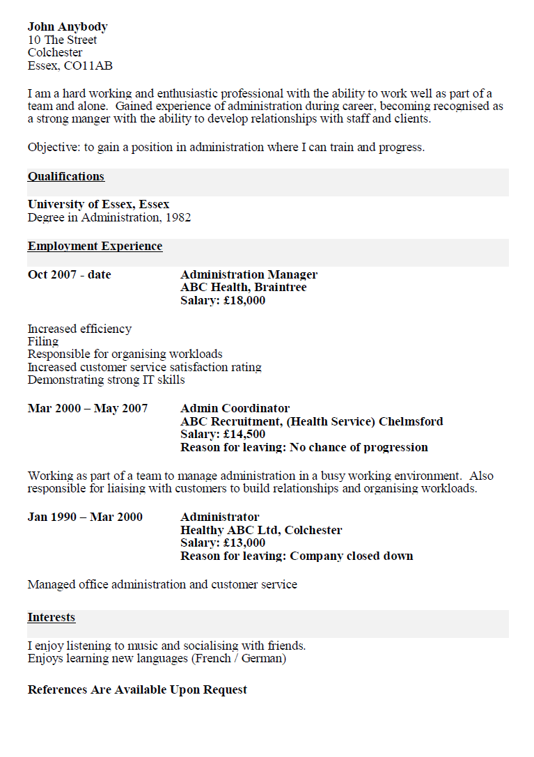 An Example Of A Resume Cv Before And After Example The Cv Store