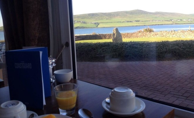 Dingle Skellig Breakfast table view across the bay to Eask Tower