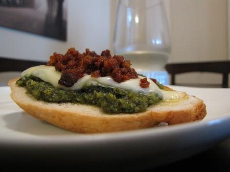 """Chorizo and Cilantro Pesto """"Caprese-Bruschetta"""" with Smoked Mozzarella"""