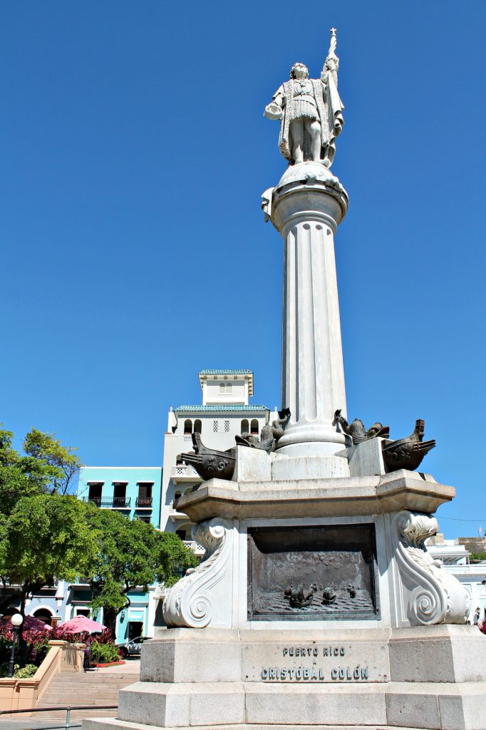 Plaza Colon, a stop of my step-by-step walking tour though Old San Juan, Puerto Rico. www.thedailyadventuresofme.com