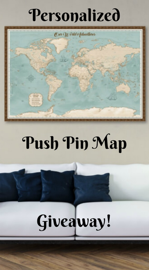 Enter to win a gorgeous personalized Push Pin Map or find out where to get one to give as the perfect Christmas gift for the traveler in your life. thedailyadventuresofme.com