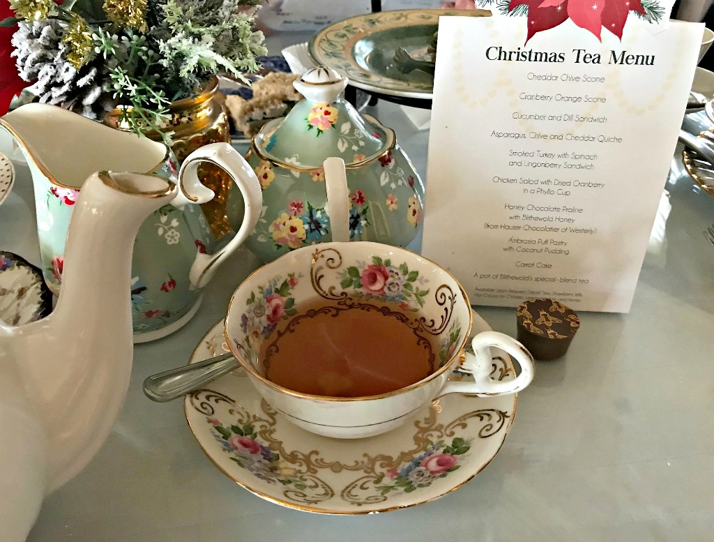 Holiday tea at Blithewold Mansion, Bristol, Rhode Island.