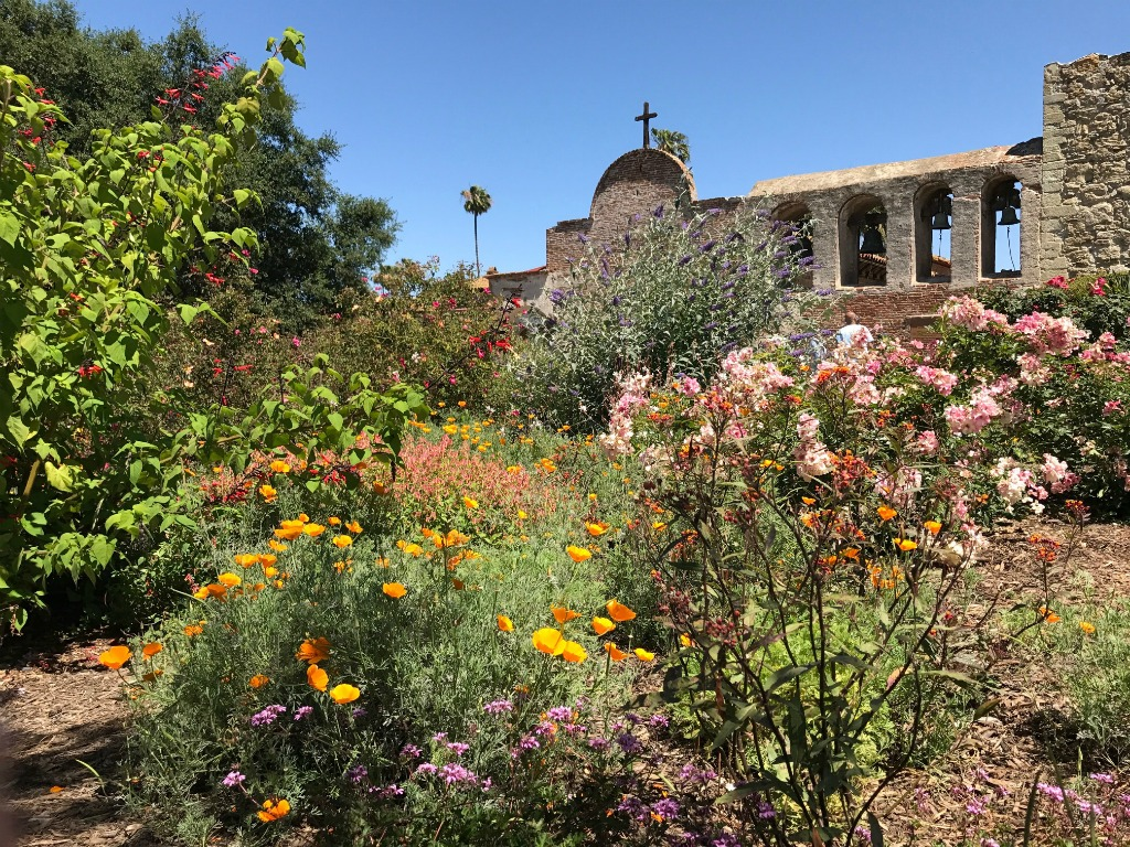 Springtime at San Juan Capistrano Mission in California.