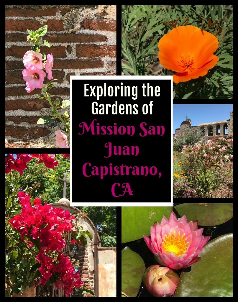 One of California's prettiest gardens to explore, the mission at San Juan Capistrano is also full of California history. Click through to read more.... #California #USHistory #gardens #flowers #spring