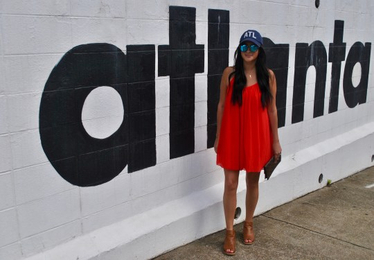 ATL Hat and Red Swing Dress