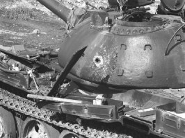 HEAT penetration on a T-55 turret.