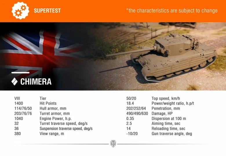 World of Tanks Supertest: Chimera, British Medium Tank