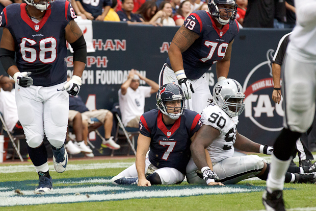 Case Keenum threw his first interception of his NFL career in the first quarter against the Oakland Raiders on Sunday, Nov. 17, 2013. | Justin Tijerina/The Daily Cougar
