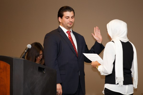 Chief justice of the Student Government Association Court of Appeals Fatima Syed swore in President Charles Haston and Vice President Erica Tat during the inauguration Friday evening in the UC Ballroom. | Justin Tijerina/The Daily Cougar