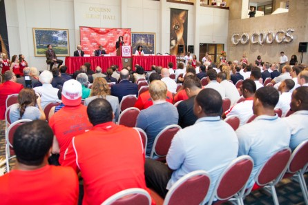 A press conference announcing the name of UH's new football stadium, TDECU Stadium, was held on Tuesday, July 8, 2014 at 2 p.m. in the Athletics and Alumni Center. | Jimmy Moreland, The Daily Cougar