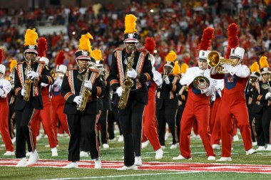 The Spirit of Houston marched onto the field to give the football team a run for their money when it came to the best entertainment of the night. | Justin Tijerina/The Cougar
