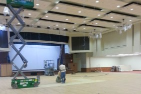 The Houston Ballroom features a stage and dance floor area, along with a new AV and easier to use AV system.   Glissette Santana/The Cougar