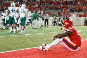UH receiver Steven Dunbar was the intended target on quarterback Greg Ward's final pass of the night; instead, it led to Ward's career-high third interception, and Tulane held on for the 31-24 upset victory at TDECU Stadium to snap the Cougars' three-game win streak. The home team nearly tied the contest after recovering the onside-kick. | Justin Tijerina/The Cougar