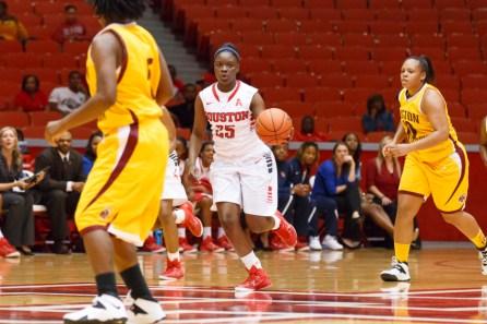 Freshman forward DeJah Joshua made her Houston debut in Sunday's win as she scored seven points in her effort. | Justin Tijerina/The Cougar