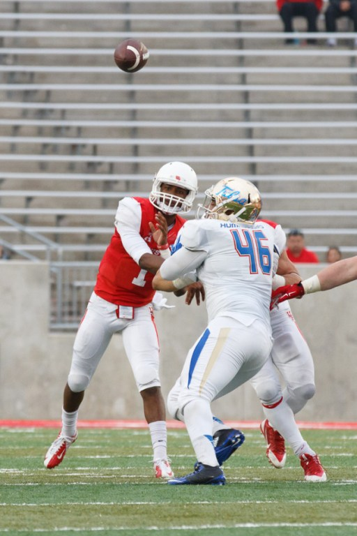 Improving to 4-1 as the Cougars' starting quarterback, sophomore Greg Ward Jr. completed 16 of 21passes for 227 yards and a touchdown in Saturday's win. | Justin Tijerina/The Cougar